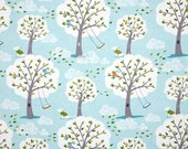 """Windy Day in Aqua  - 29"""" Remnant - Backyard Baby - Michael Miller Fabric"""