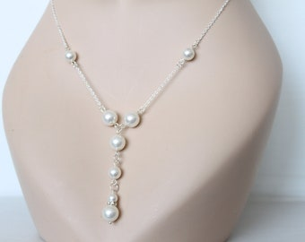 Swarovski pearls necklace, pearl jewelry, pearl necklace, bridesmaid necklace, pearl bridal necklace, bridesmaids gift, bridal party