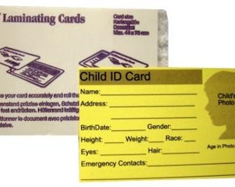 Child ID Card with Self Laminating Pouch