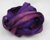 Purple combo - Single Silk Ribbon - Hand Sewn and Hand Dyed - (1)