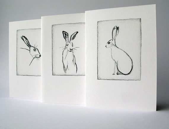 Set of greeting cards - Hare charcoal drawings x3