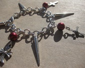 Fancy Cross and Spikes Charm Bracelet - Visual Kei, Goth, Dark