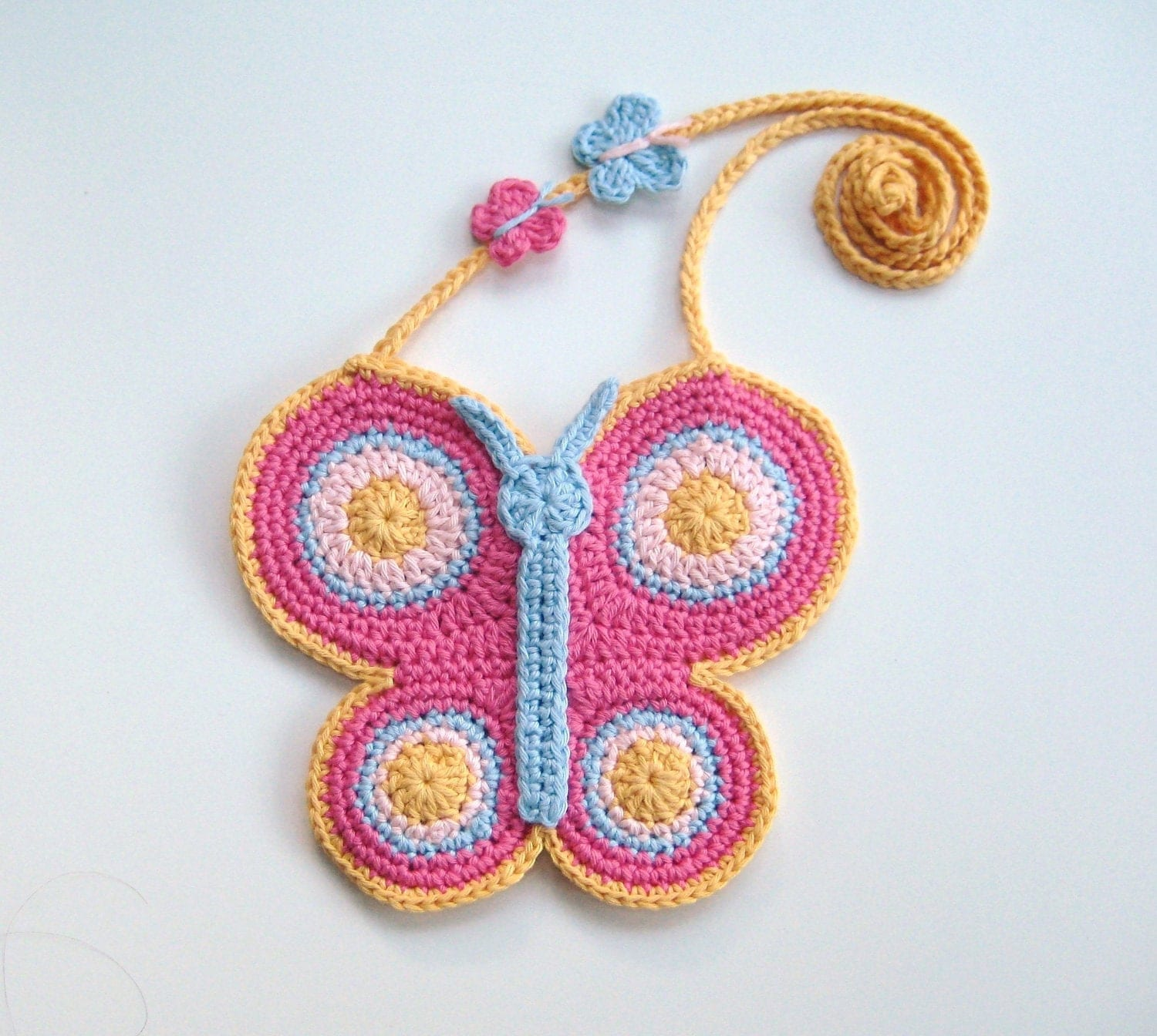 Crochet Bag For Girl : Crochet Pattern Butterfly purse bag INSTANT DOWNLOAD PDF