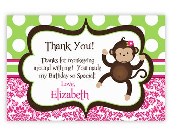 Mod Monkey Thank You Card - Pink Damask and Green Polka Dot Girl Monkey Personalized Birthday Party Thank You - a Digital Printable File