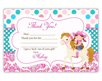 Cowgirl Thank You Card - Pink Damask, Turquoise Polka Dot Cowgirl Horse Personalized Birthday Party Thank You - a Digital Printable File