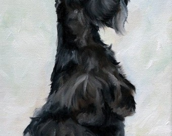 PRINT Scottish Terrier Scottie Dog Puppy Art Oil Painting / Mary Sparrow Smith
