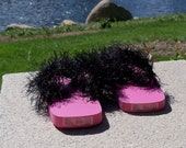 Fuzzy Black and Pink Flip Flops