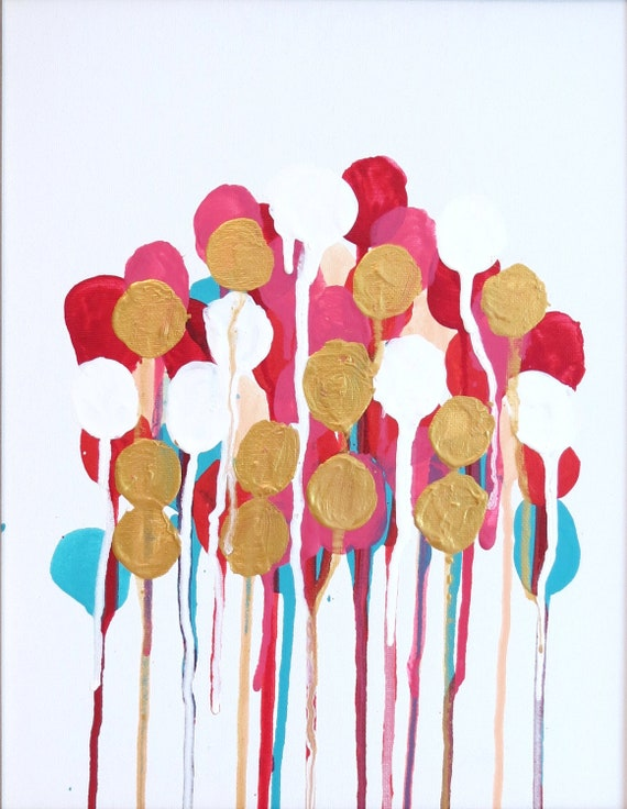 """Original Abstract Painting """"Mod Floral No. 11"""" Louis Vuitton Inspired Art Pink, Turquoise, Orange, Gold Painting"""