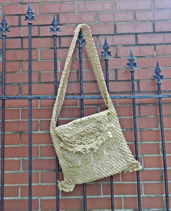 RESERVED For Kellie / Cross Body Bag / Woven Bag / 70's Macrame Bag / Woven Jute Bag / Ethnic Inspired Bag / Boho Accessory / Hippie Bag