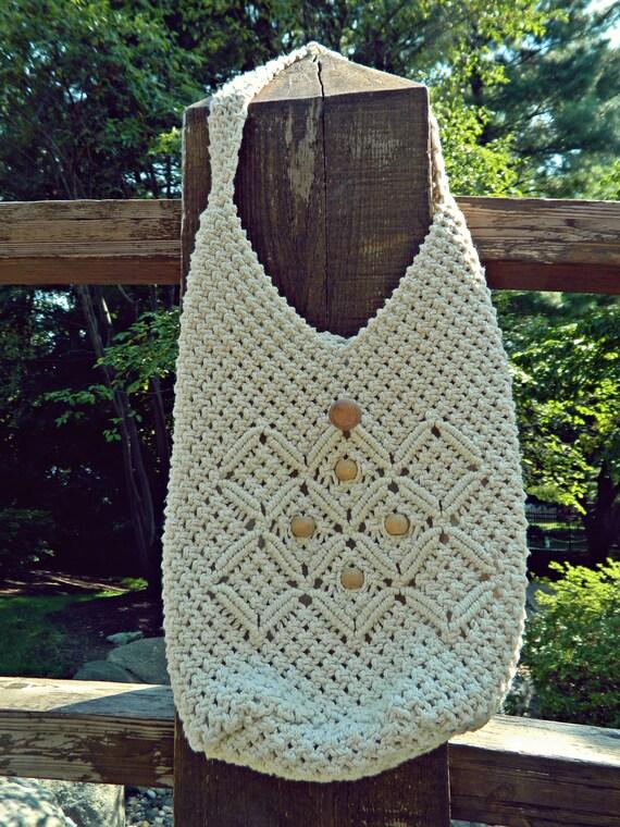 Ivory Woven Bag / Crochet Bag With Wooden Beads / Woven Boho Bag / Macrame Bag / Cream Bag / Shopper Bag / Resort Tote