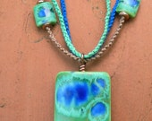 Blue Green Porcelain Bead with Copper Hand-Knotted Macrame Necklace
