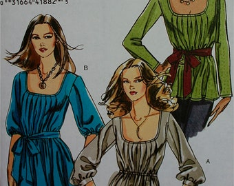 2000s Tunic & Sash Very Easy Vogue Pattern 8420  Uncut   Size 14-16-18-20  Bust 36-38-40-42""