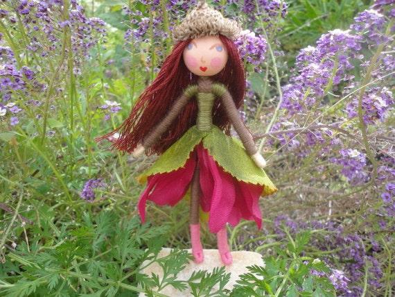 Autumn fairy doll, handmade doll, Vermont doll, acorn doll, bendy doll, 5 inch doll, dollhouse doll, Waldorf doll, fairie doll, doll child