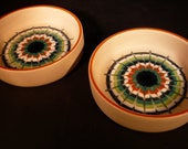 Hornsea England Vitramic Muramic 2 Ceramic Dishes Green Orange Retro Clappison 70s Hand Enamelled Collectable Gift Very Good Condition