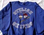 Stylish Skiers Crew Neck Sloppy Joe Sweater Jumper