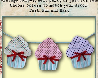 Sweet Cupcake Bunting Cottage Chic Banner Instant Download PDF Pattern