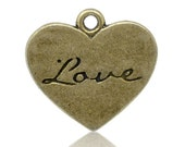 6 pcs Bronze Heart Charm.  Love Stamped Charm.  Love Charm. Wedding favor. Charm.  Bridal shower favor.  Alex and Ani Inspired