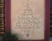 Framed Primitive Stitchery Old Fashioned Christmas Tree CWWOFG- Holiday, Christmas Decor, Gift