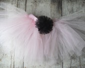 Pink Tutu with Black Flower Accent