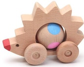 Lovely handmade wooden toy Rolling hedgehog, natural, organic wooden toys for kids