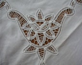 White Tablecloth with lace cut outs