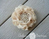 Shabby Chic Fabric Flower Hair Clip - Wedding - Dress Sash - Flower Girl - Bridesmaid - Brooch