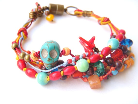 Day Of The Dead, Mexican Gypsy Multi Strand Colorful Beaded Charm Bracelet, Boho Style, Multicolored Jewelry