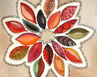 original wreath watercolor painting by Elena Nuez