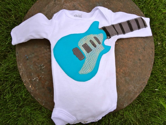 Delightfully Fun Turquoise Electric Guitar Onesie Modeled after the 'Taylor SB2-S'