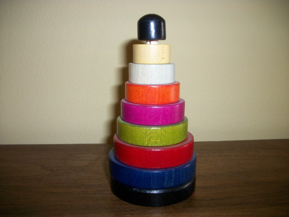 Vintage Wooden Stacking Rings - Small
