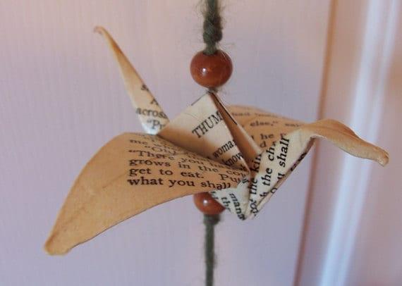Vintage Book Paper Origami Crane Vertical Garland