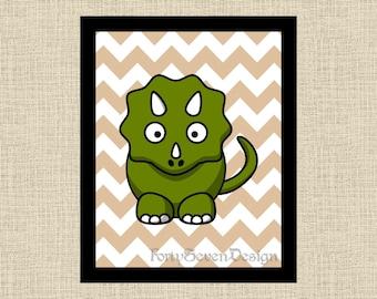 Dinosaur Chevron Printable Wall Art