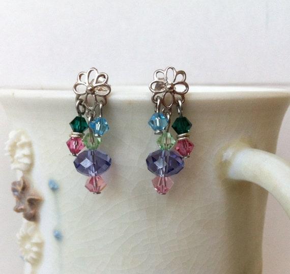 Crystal rainbow, sterling silver flower stud earrings