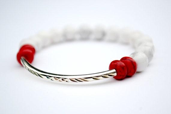 White and Red Howlite Bar Stretch Bracelet