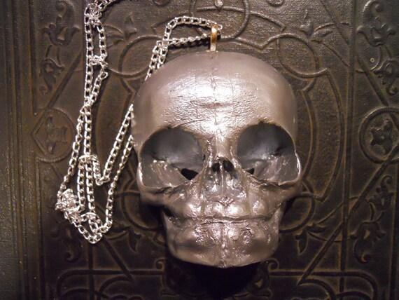 Silver Life Sized Fetal Skull Necklace Resin Fetus Idol