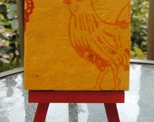Orange Rooster on Yellow Background Mini Canvas with Easel, Rooster Art, Rooster Home Decor