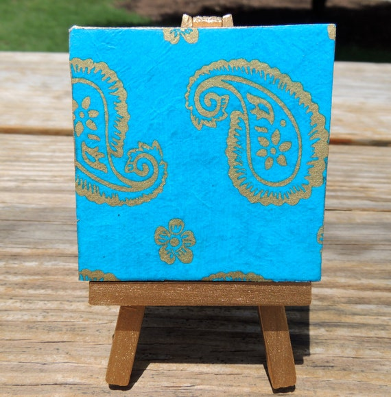 Blue and Gold Flowers on Mini Canvas with matching Gold Easel, Small Painting, Mini Easel