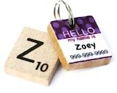 HELLO My Name Is - Purple Polka Dot Scrabble Dog Tag, Pet Tag