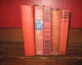 Vintage Red Book Collection, Cowboy Books, Old Western Books, 1930's Fiction, Photo Prop Books