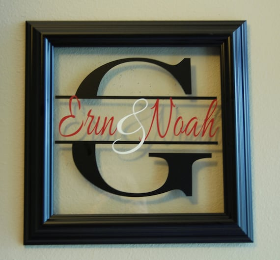 family name in a frame split letter with by makeitmineboutique