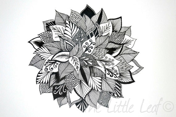 """Original Abstract Floral Zentangle Drawing 8x10"""" Unframed"""