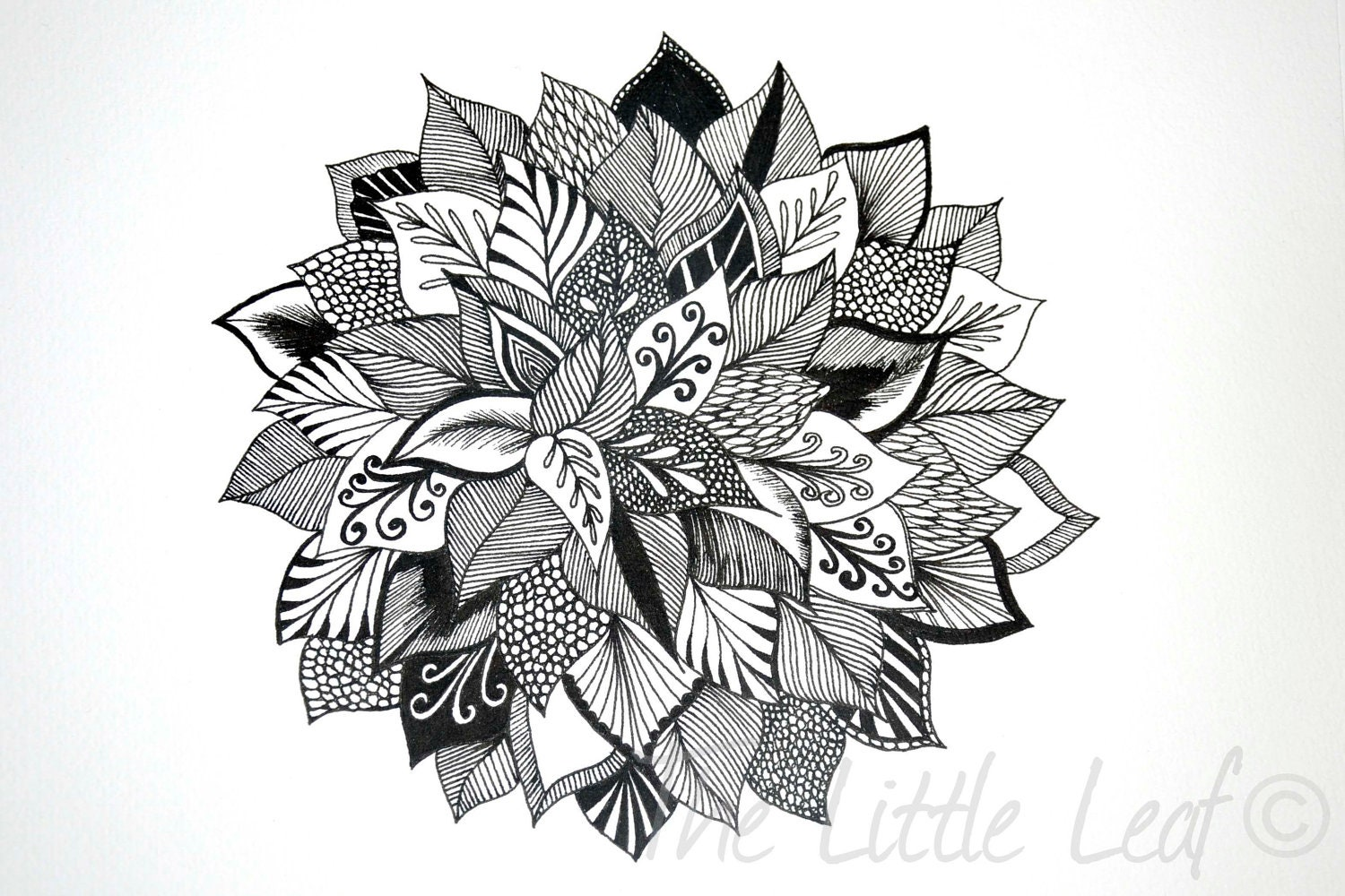 Original Abstract Floral Zentangle Drawing 8x10 Unframed