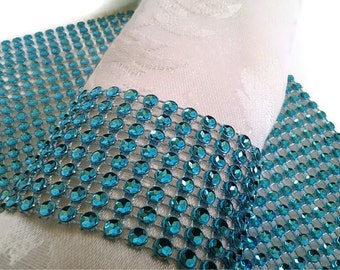 Turquoise Teal Bling Napkin Rings- Napkin Ring Holders -Rhinestone Crystal Elegant Party or Wedding Napkin Rings