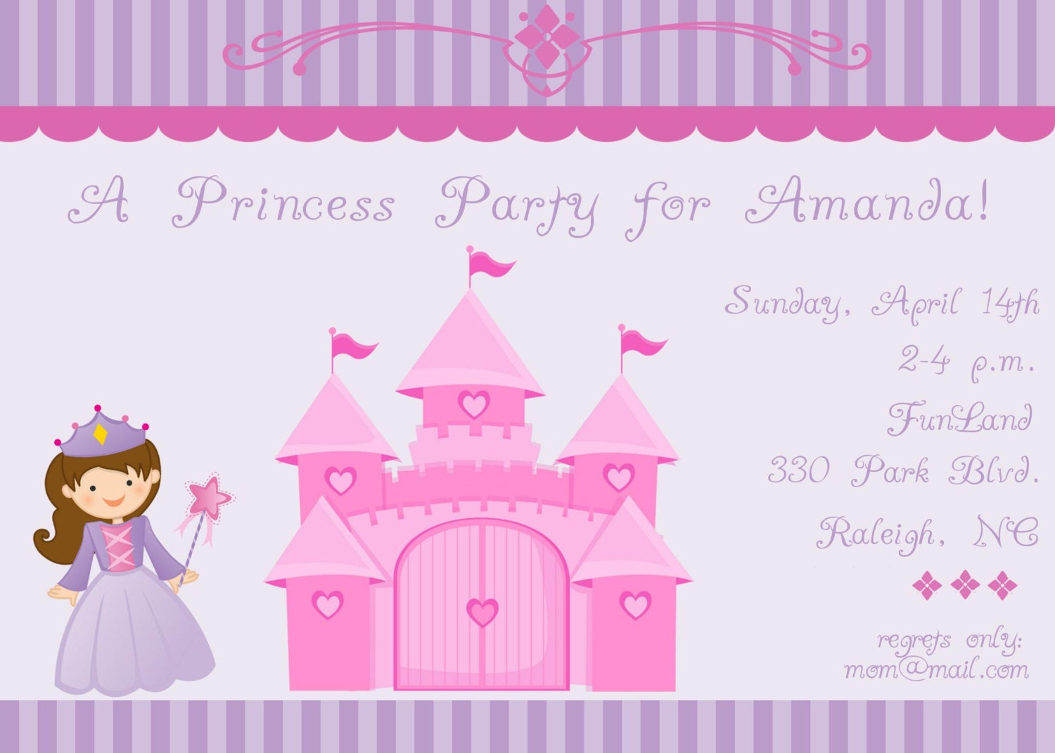 Princess and Castle Birthday Party Invitation