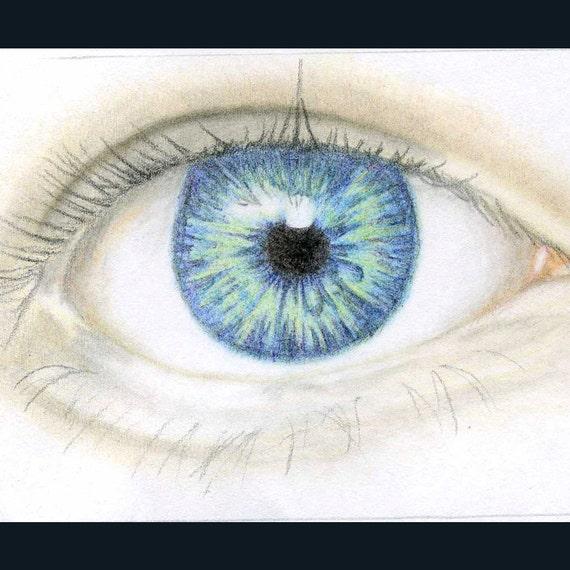 Blue Eye Pencil Drawing Original Aceo Blue Eye