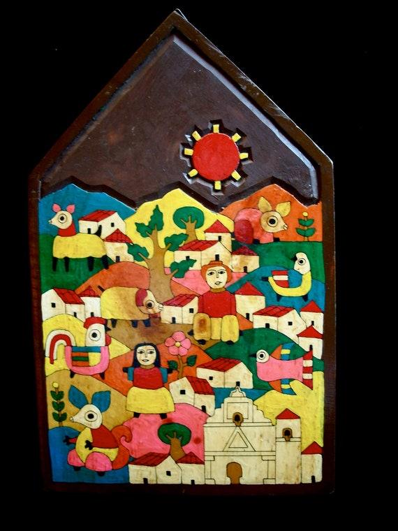Vintage El Salvador Folk Art Painted Wood Village Scene Wall
