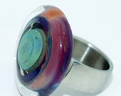 Pearly Lampwork Disk Multicolor(1)30mm SRA include Changeable Ring Free Shipping