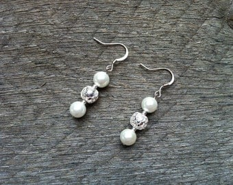 Silver White Pearl Earrings on French Wire Hook