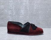 Vtg 80s 90s Maroon Stephane Kelian Leather Tassel Platform Loafers 7