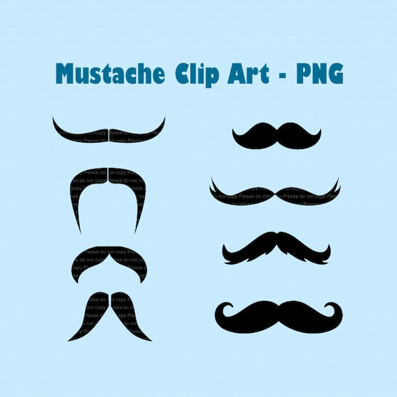 INSTANT DL-  Moustaches Clip art - 8 png file, Digital Clipart Elements